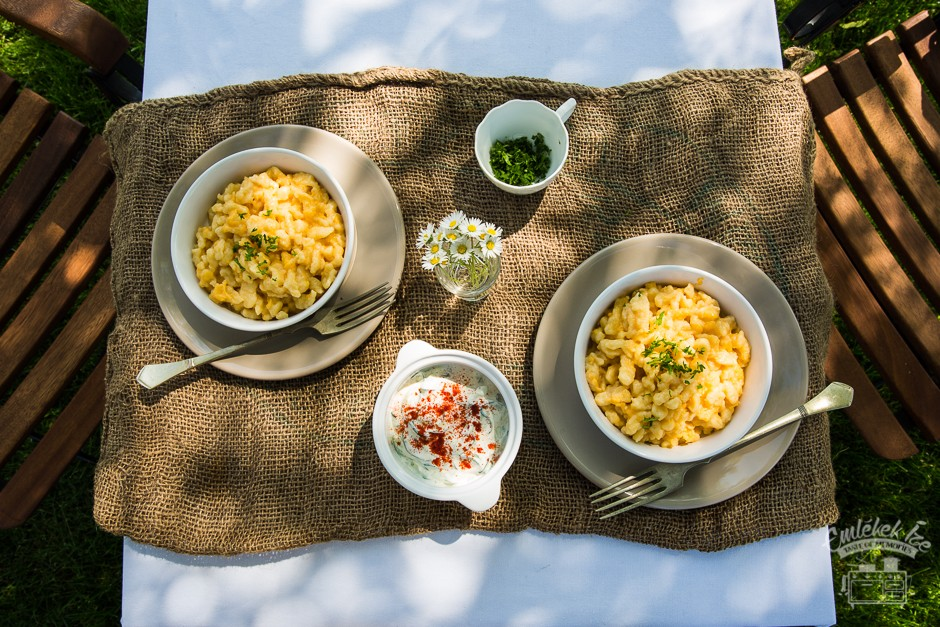 Hungarian nokedli dumplings with egg