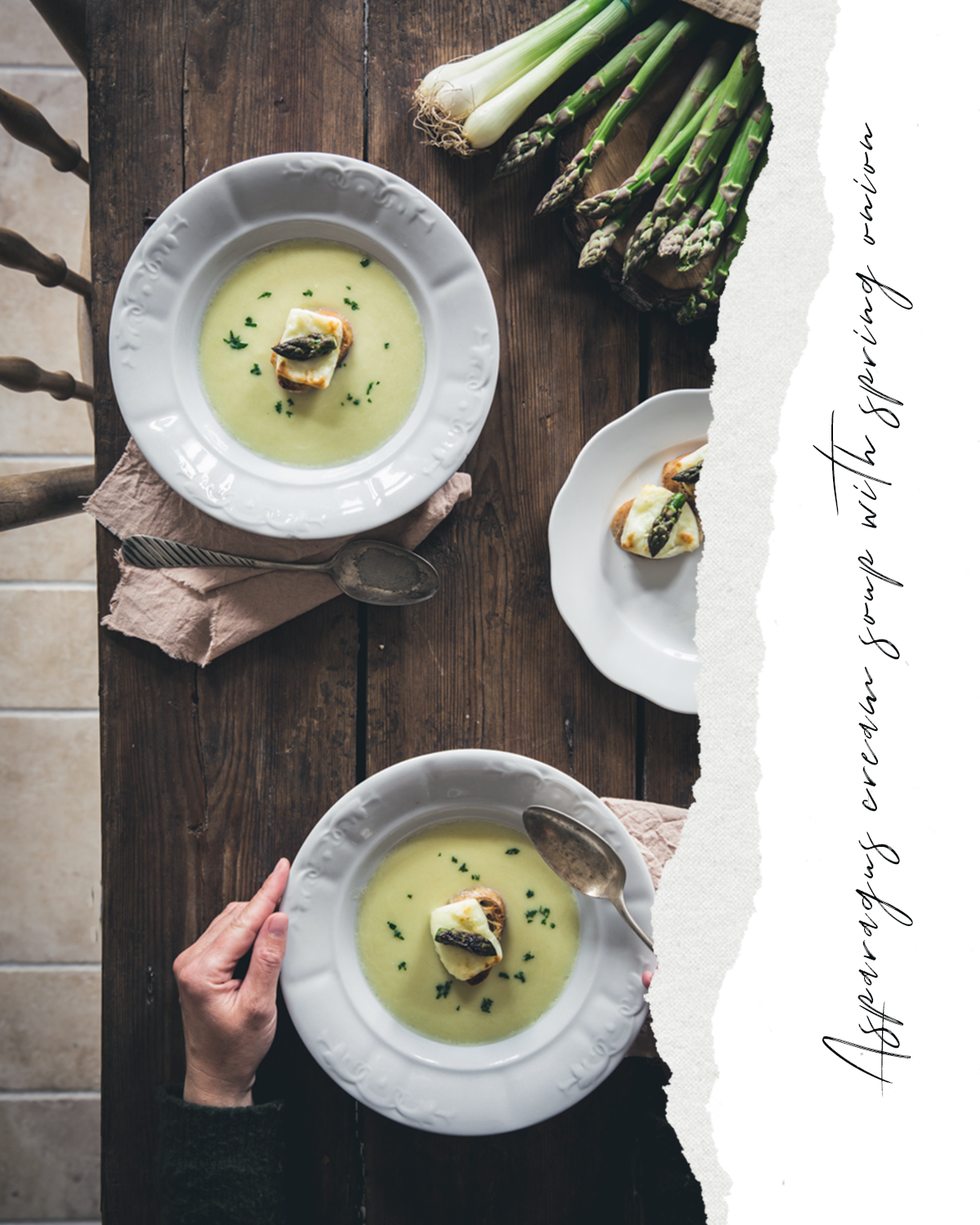 spárgakrémleves újhagymával az Emlékek Íze konyhájából www.emlekekize.hu asparagus cream soup with spring onions from the Taste of Memories Hungarian country kitchen www.tasteofmemories.com